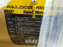 3HP Baldor EM3611T Super E Electric Motor Frame 182T 208-230/460V 3PH Encl TEFC