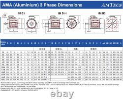 AMTEC Electric Motor 3 Phase Aluminum 11kW 4 Pole 1460rpm 132 Frame B35 Mount