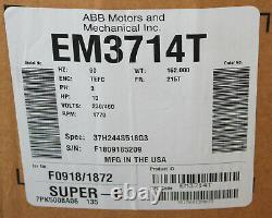 Baldor 10 H. P Super E Electric Motor Catalog # Em3714t Gold