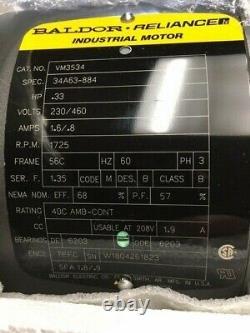 Baldor VM3534.33hp 208-230/460 volt 1725rpm 56C TEFC Electric Motor