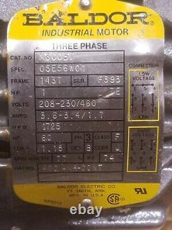 M8003T Baldor 1HP TEFC Electric Motor 1725 RPM 143T Frame 208-460VAC 3-Phase NEW