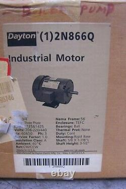 New Dayton 3/4 HP Electric Ac Motor 208-230/460 Vac 1725 RPM 3 Phase 56 Frame