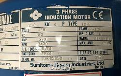 Sumitomo Cyclo 2.2kW 3-Phase Electric Motor Brake Gearbox Straight Drive 30RPM